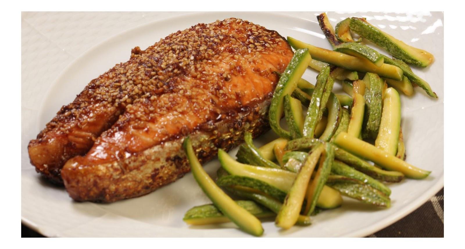 Marinora in cucina: trancio di salmone caramellato in salsa allo