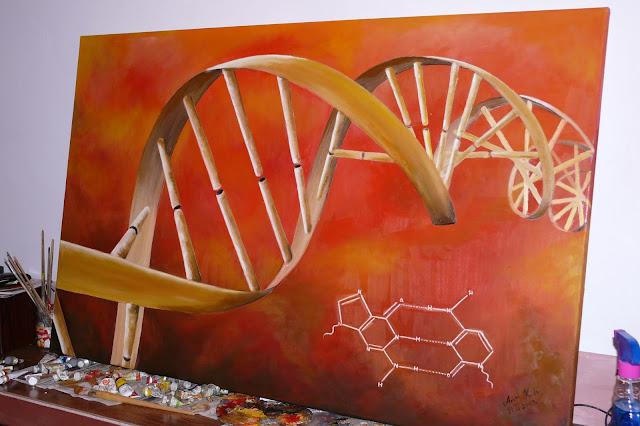 Abstrakcja, obraz olejny wykonany ma płótnie, motyw DNA, cena obrazu olejnego, malowanie na zamówienie