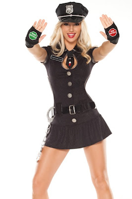 BLACK SILVER FASHION POLICE COSTUME