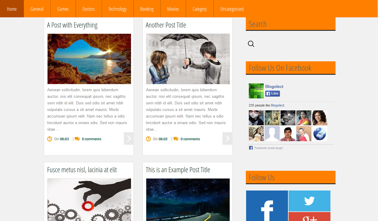 Grid Blogger Templates Grid Mag Orange Blogger Template | Blogger Templates Gallery