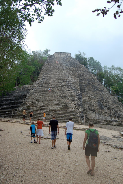 Approaching the Nohoch Mul Temple on the Sacbe, White Road, in Coba, Mexico