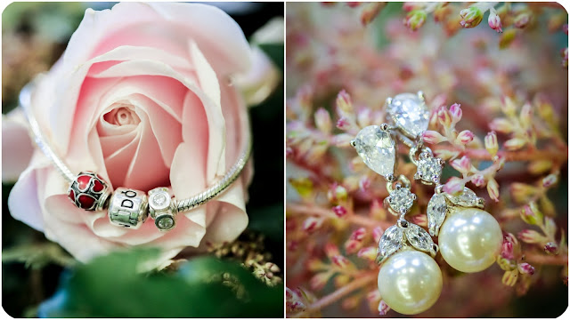 Bride's jewellery Pandora bracelet and pearl crystal drop earings