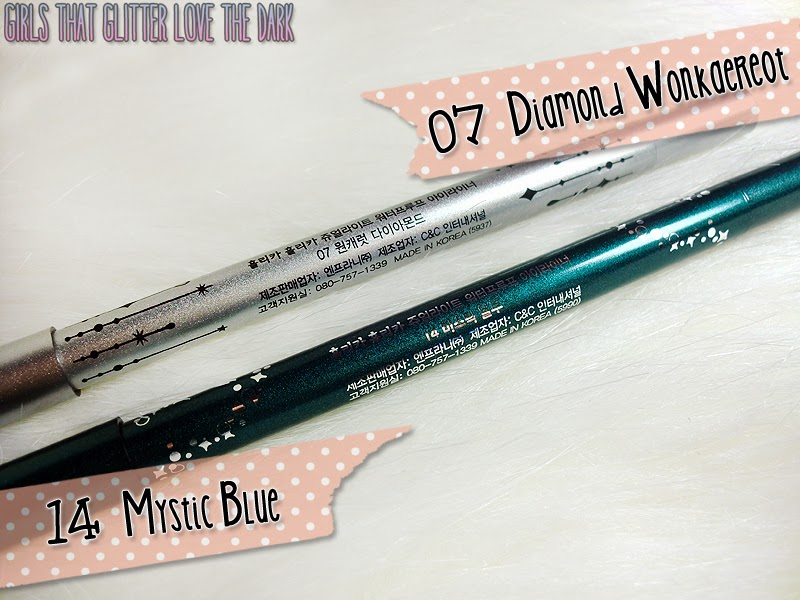 Holika Holika Jewel-Light Waterproof Eyeliners 07 Diamond Wonkaereot & 14 Mystic Blue