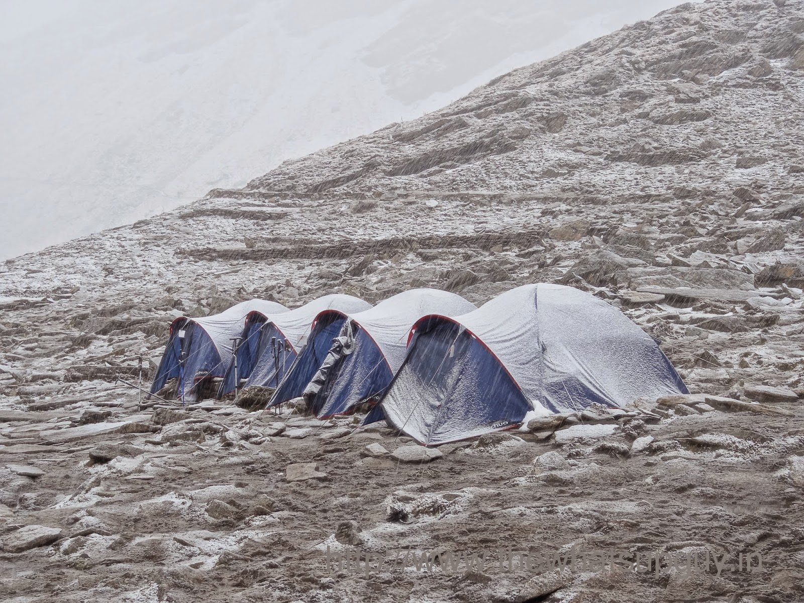 Snow Covered Tents Roopkund Trek With India Hikes