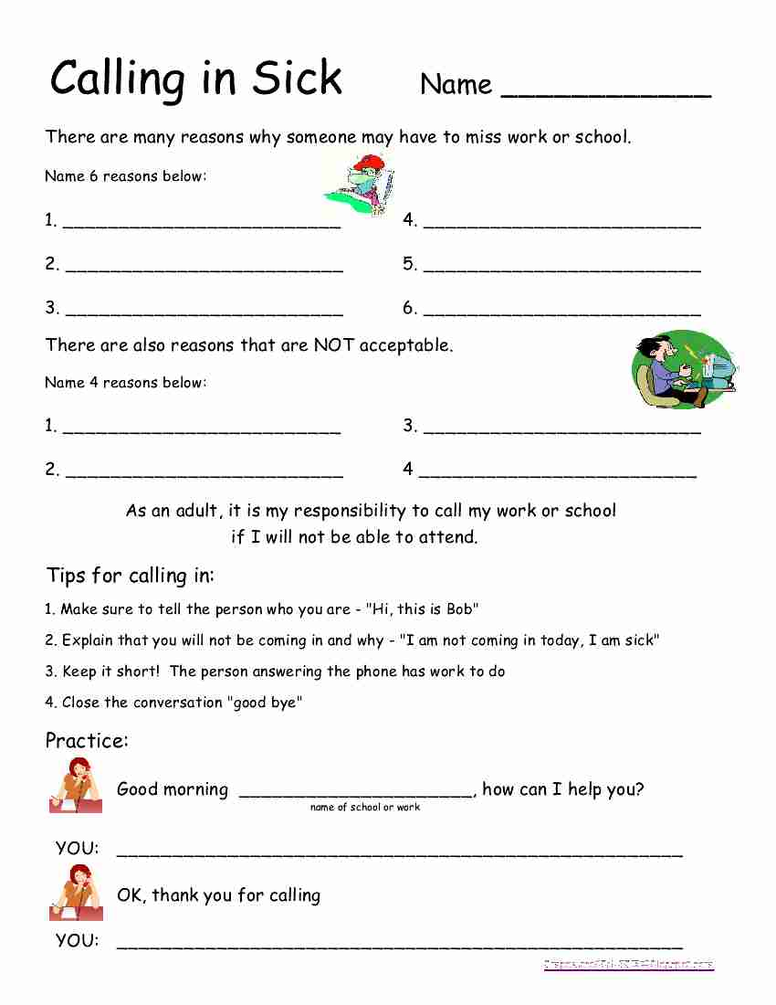 worksheet Life Skills Worksheets For Adults empowered by them calling in sick sick