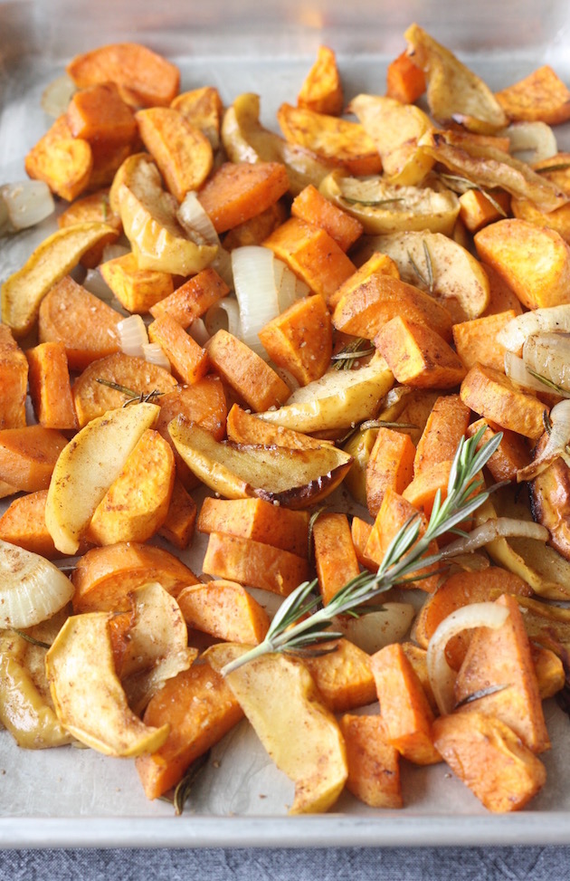 Roasted Five Spice Sweet Potatoes and Apples for holiday side dish recipe by SeasonWithSpice.com