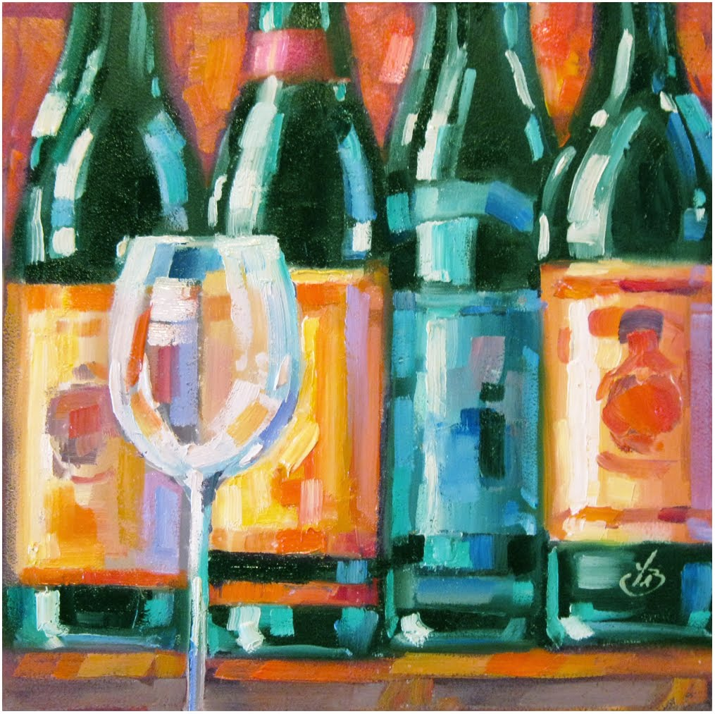 Tom brown fine art wine bottles colorful contemporary for Painting of a wine bottle