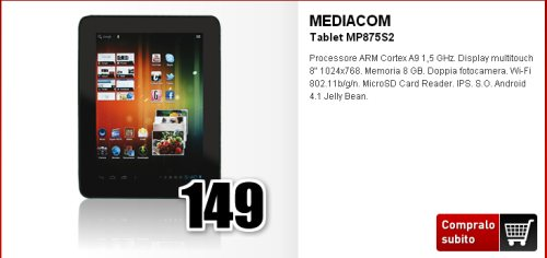 il tablet jelly bean Smart Pad 875 S2 di Mediacom è in promozione nel Carnival Weekend di Mediaworld
