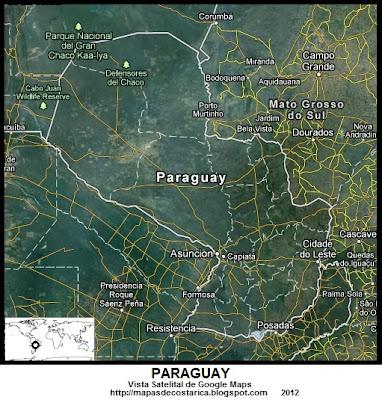 PARAGUAY, Vista Satelital de Google Maps