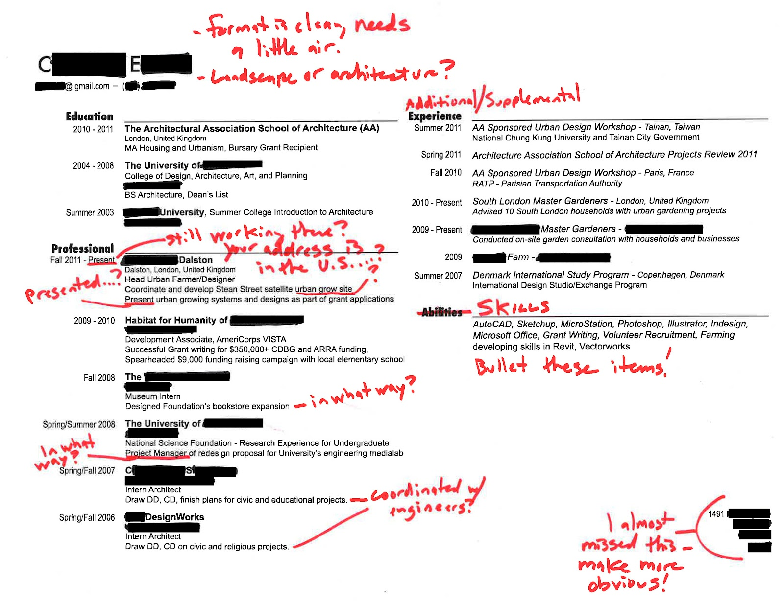 Intern 101 Redlined Resumes Strength In Need Of Definition