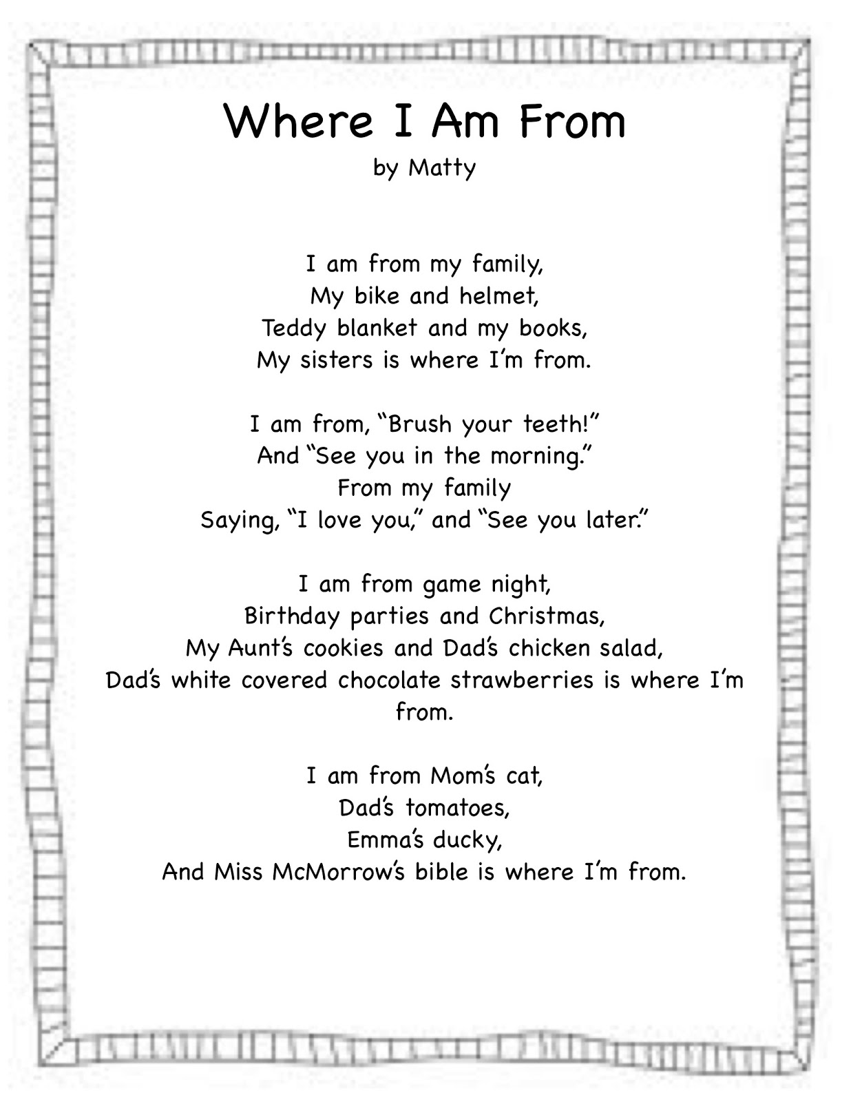 where i am from poem assignment
