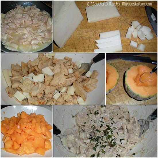 Insalata di pollo, melone e pecorino