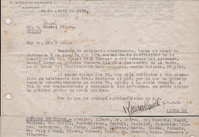 Carta de Ricard Guinart Cavallé a Ribera de 1930