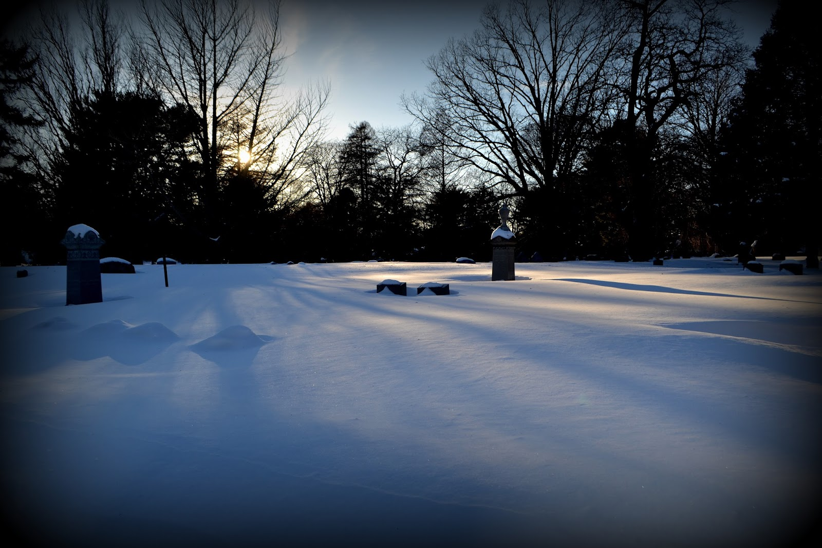 Winter, Shadows, snow, Greenlawn Cemetery, Salem, Massachusetts