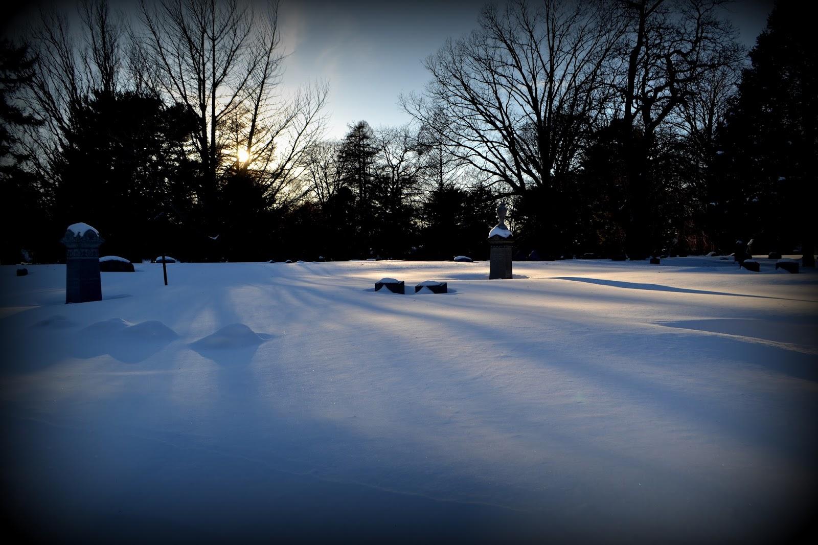 Winter, Shadows, snow, Greenlawn Cemetery, Salem, Massachusetts