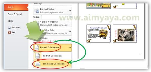 Gambar: Memilih orientasi kertas landscape/portrait di Microsoft Powerpoint