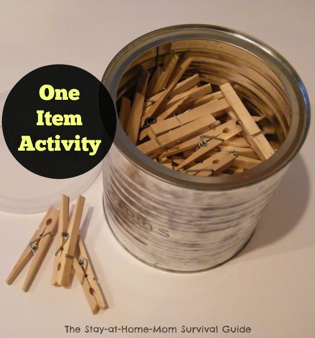 No prep, one item activity for kids using clothespins! Fine motor skills, creativity, engineering exploration for preschoolers and school age kids shared at The Stay-at-Home-Mom Survival Guide.