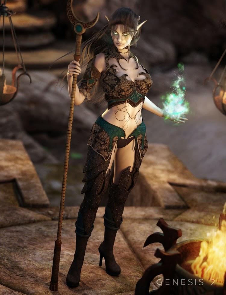 Elfe Noir Enchantress Outfit pour Genesis 2 Femme
