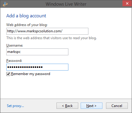 Enter Blog Account Information