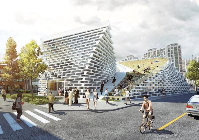 project Ying Yang public library by evgeny markachev + julia kozlovaDesi in korea.