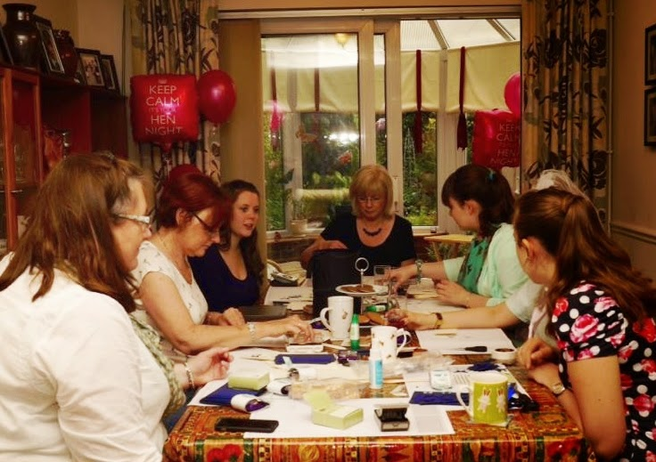 Having fun crafting at a Hen Do - making Thank You Cards for the Bride to use