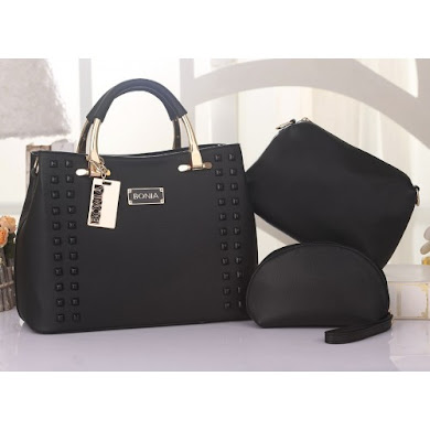 BONIA DESIGNER BAG - 3 IN 1 SET ( BLACK )