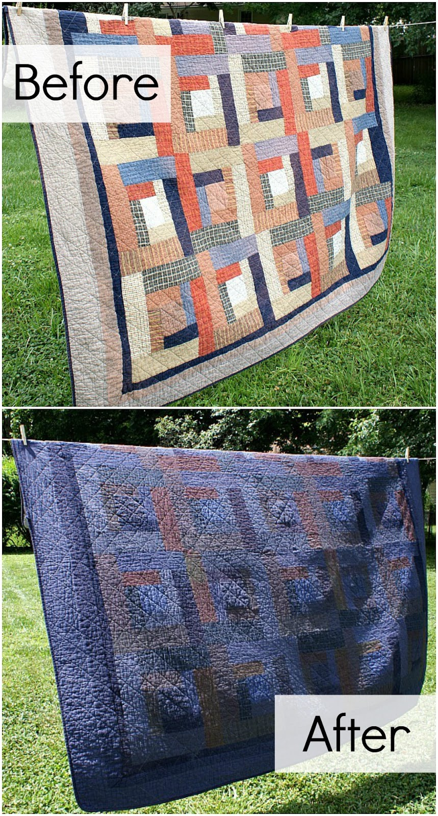 overdyed quilt before and after