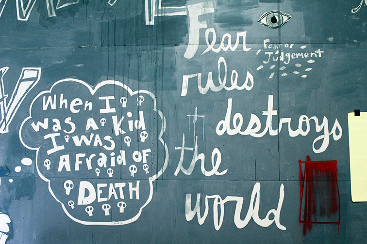 Herakut solo exhibition at Miami Art Basel 2014 at Mana Wynwood, Fear rules + destroyes the world