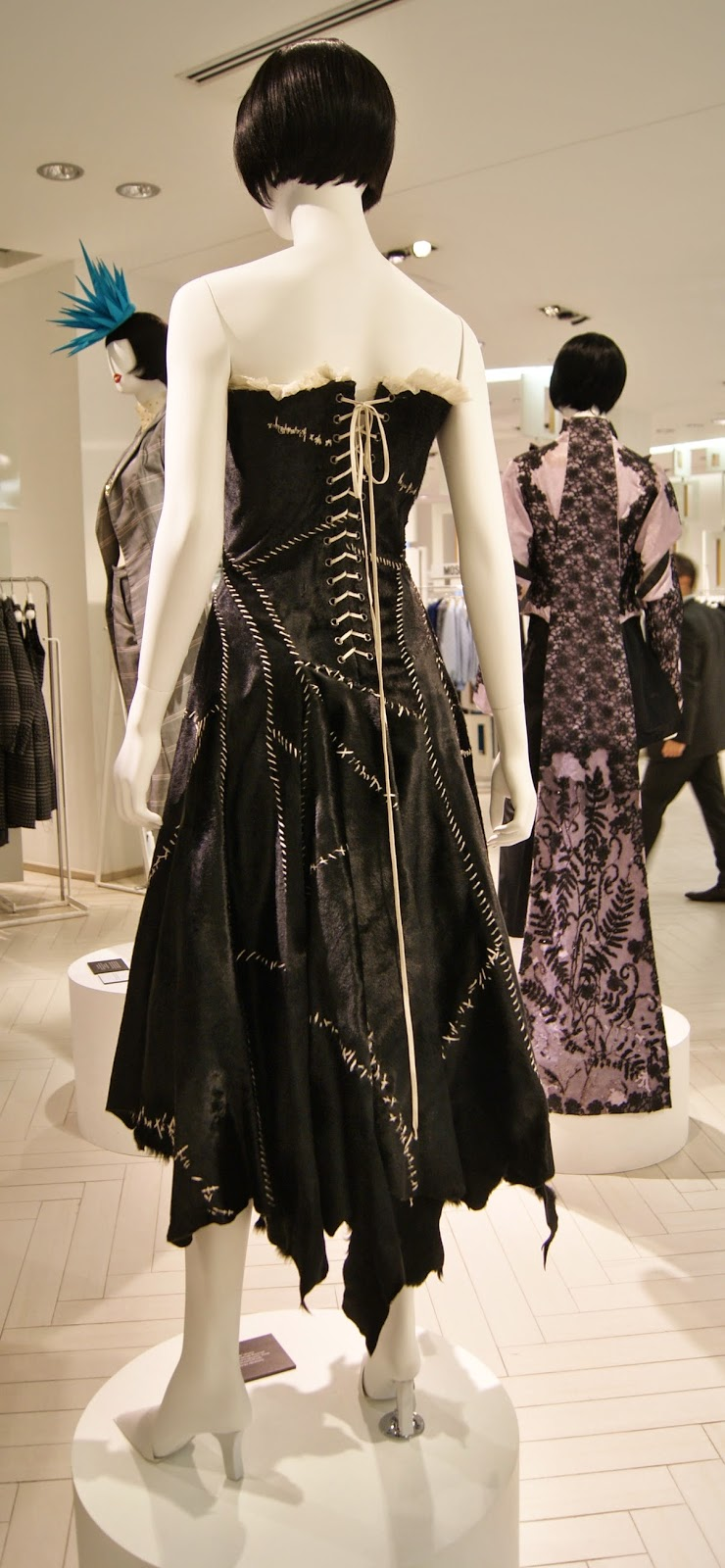 Fashion Blows Exhibit at Hudson's Bay in Toronto, Isabella, Daupne Guinness, Style, Culture, foundation, alexander mcqueen, philip treacy, suicide,the purple scarf, melanie.ps, ontario, canada, the room, cowhide dress, spring/summer, 2002