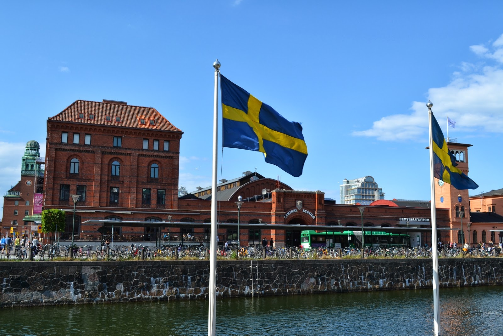 Flag of Sweden on the canal , malmo