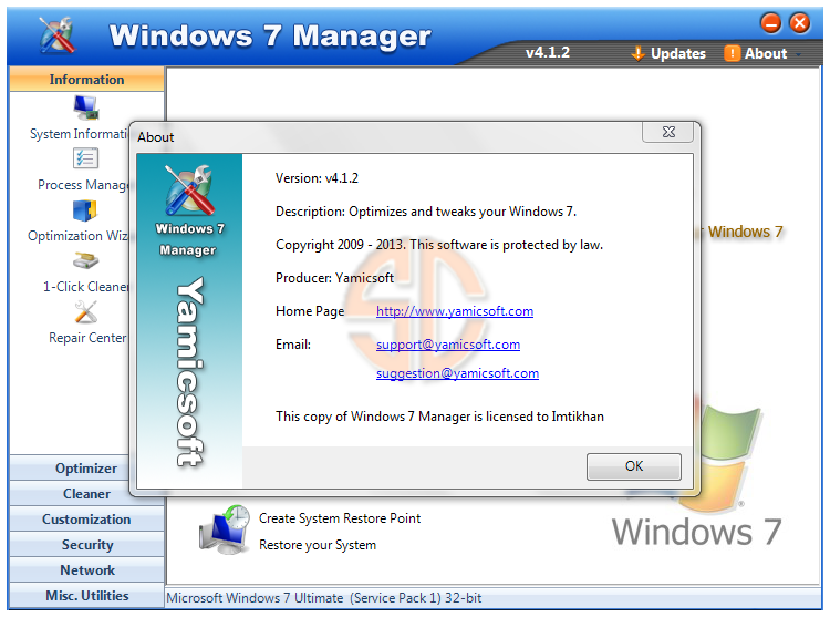 Windows 7 Manager v4.1.2 Full Version