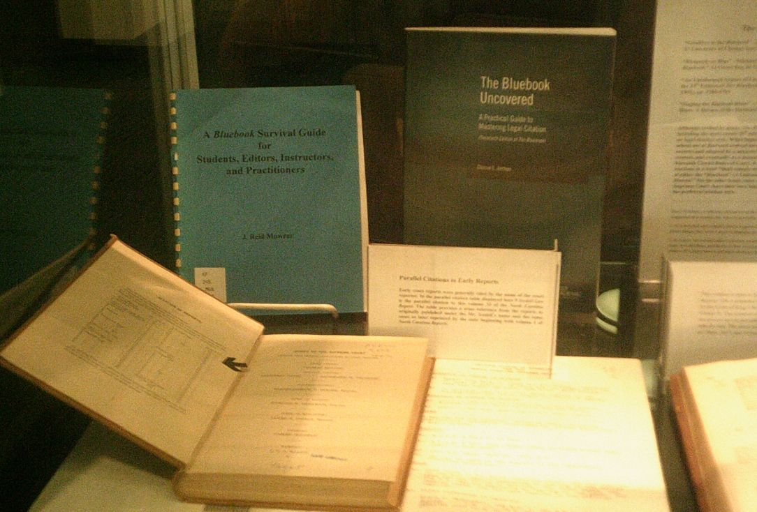 The goodson blogson bluebook on display for anyone with a serious interest in early legal citation styles the riddick room display also includes several volumes illustrating early english ccuart Image collections