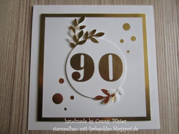 stempelhex mit farbenklex karte zum 90 geburtstag. Black Bedroom Furniture Sets. Home Design Ideas