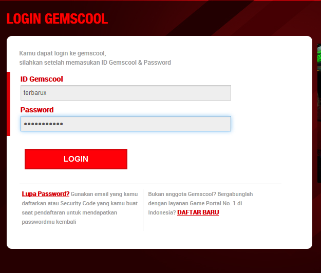 login gemscool point blank