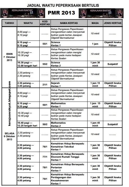Jadual Peperiksaan Menengah Rendah (PMR) 2013