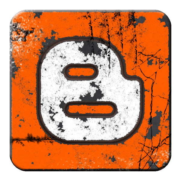 Grunge Blogger Logo Icon In Orange