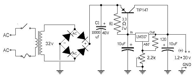 10a high current variable power supply ic schematics
