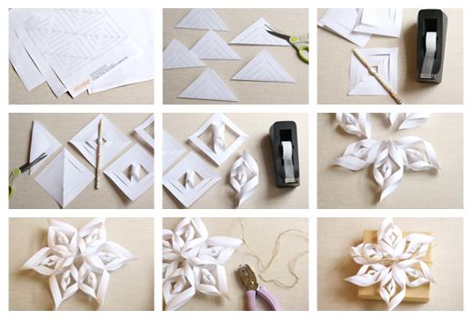 Как сделать объёмную снежинки из бумаги своими руками поэтапно