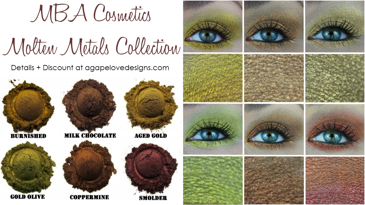 Agape Love Designs January 2016 Pixy Line Shadow Eyeliner Green Live Swatches Mba Cosmetics Molten Metals Collection