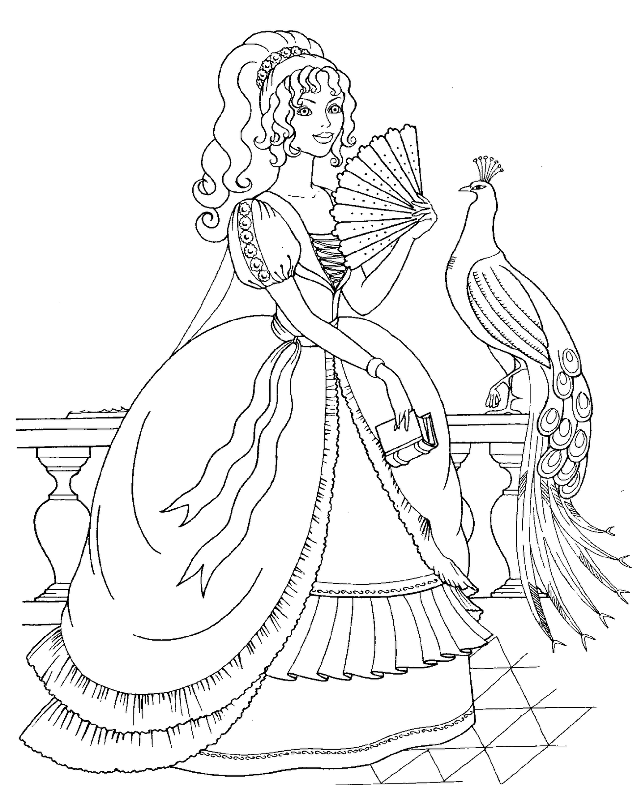 Disney Princess And Animals Coloring Pages To Kids Princess Coloring Page