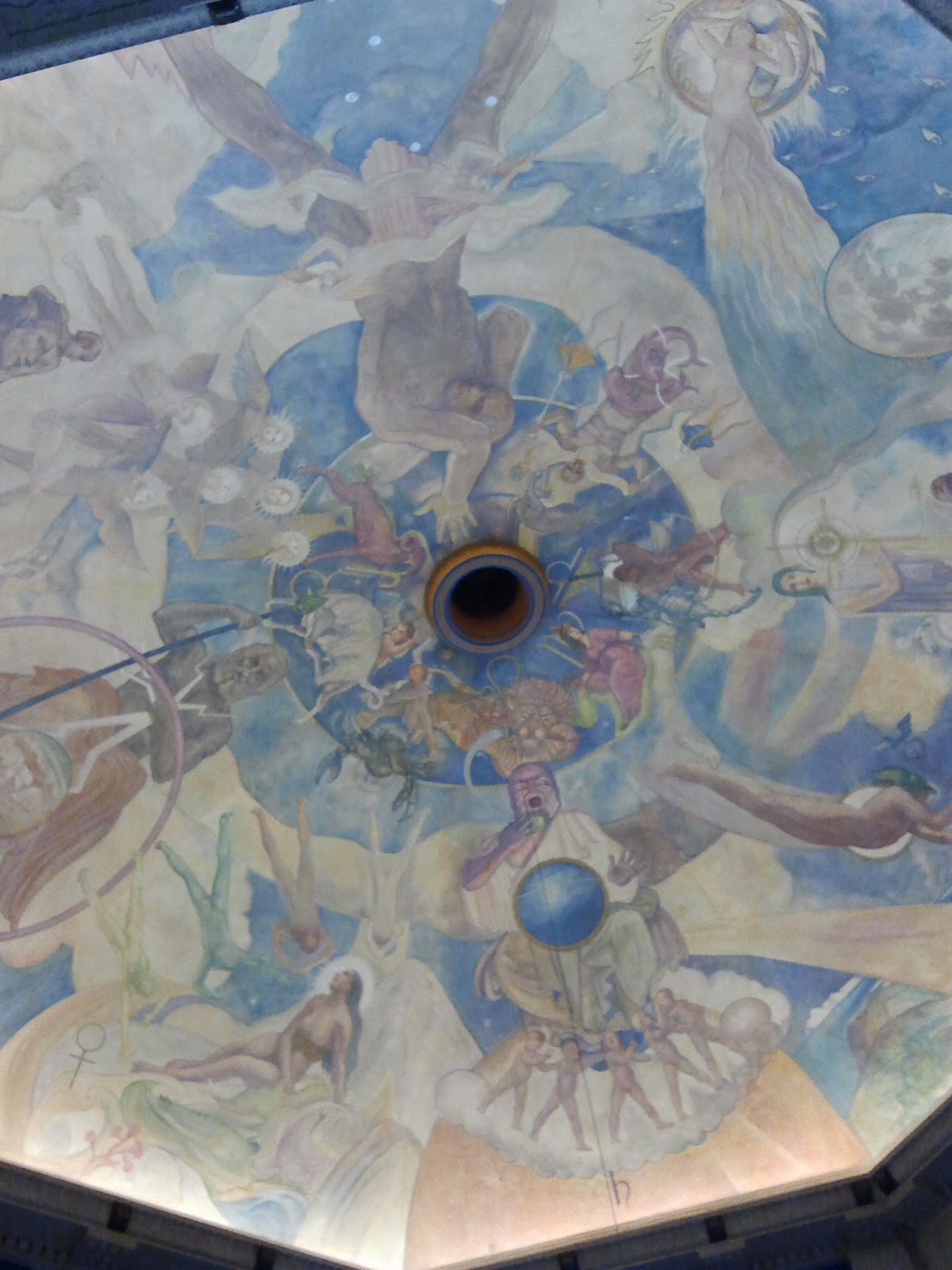 Going on a kidscapade griffith observatory public star party for Constellation ceiling mural