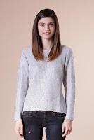 Pulover gri din tricot cu imprimeu metalic 13993 (Ama Fashion)