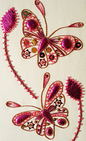 Cerise Butterflies in gold work