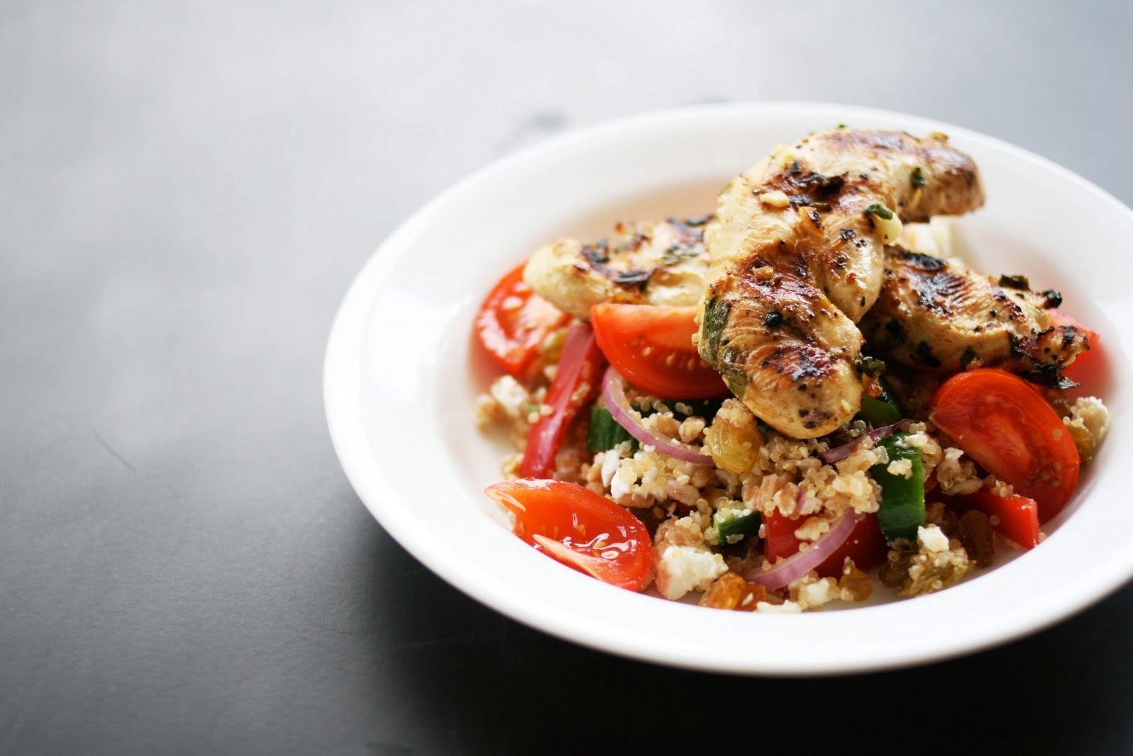 Une-deux sensesQuinoa-Farro Salad with Grilled Lemon Chicken