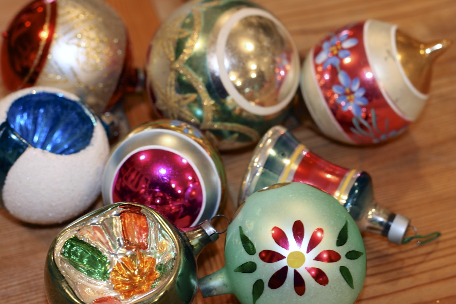the polished pebble collecting vintage christmas ornaments