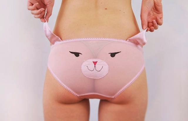 "The young Englishwoman ""Nichola"" alias Knickerocker creates panties with fun graphics from the world of children's cartoons (Mouk). Panda, fox, mouse, cat, bear."