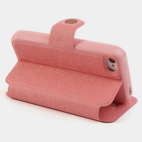 Oracle Grain Wallet Leather Case Cover with Stand for iPhone 4 4s - Baby Pink