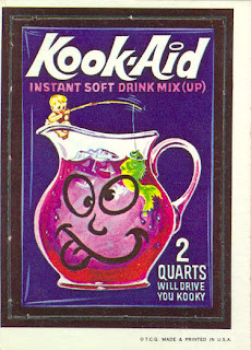 1960s 1970s wacky packs nostalgic memories ad stickers kook aid kool aid drink the koolaid