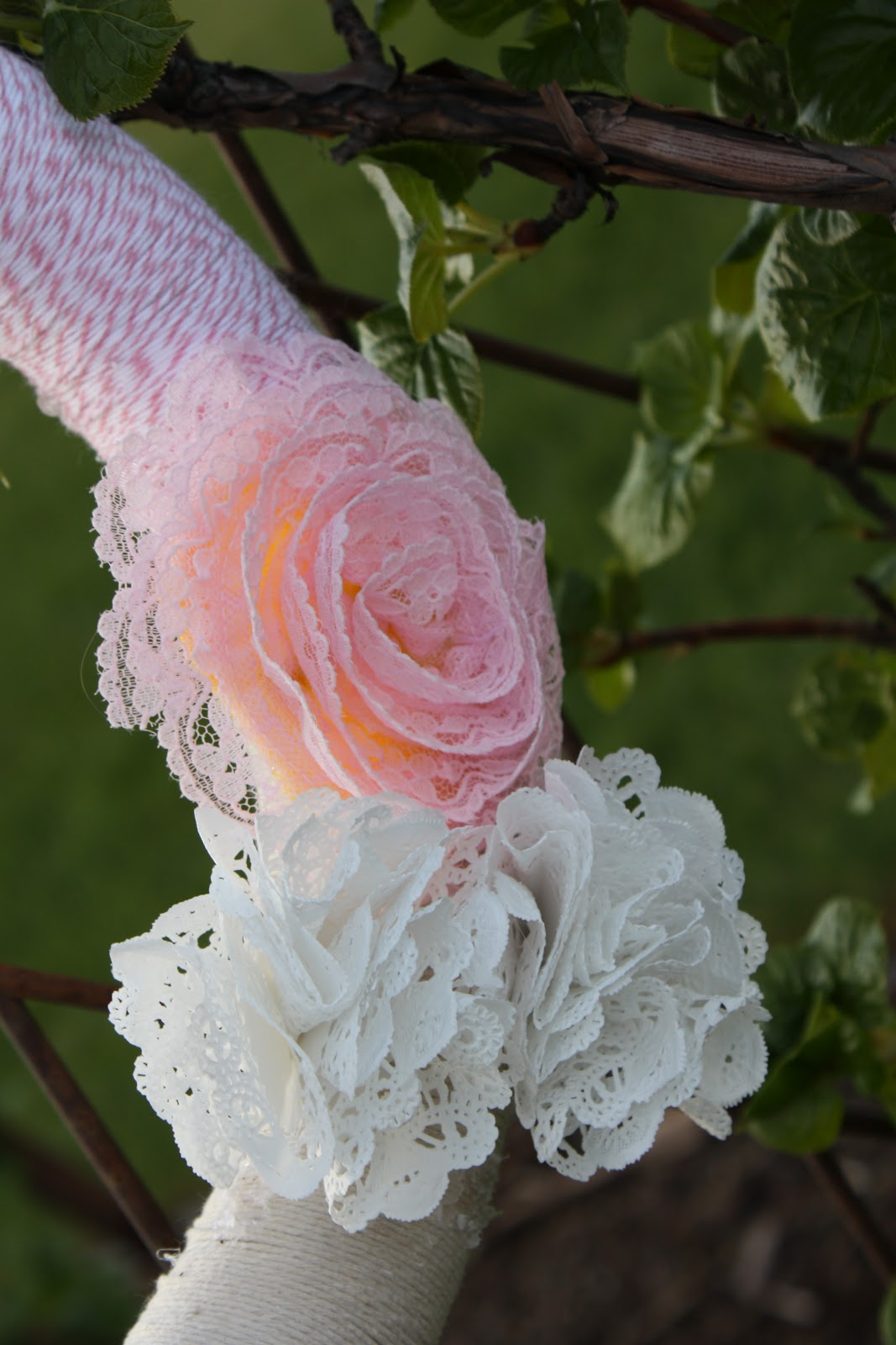 Buckets Of Grace Bakers Twine Wreath With Paper Doily And Lace Flowers