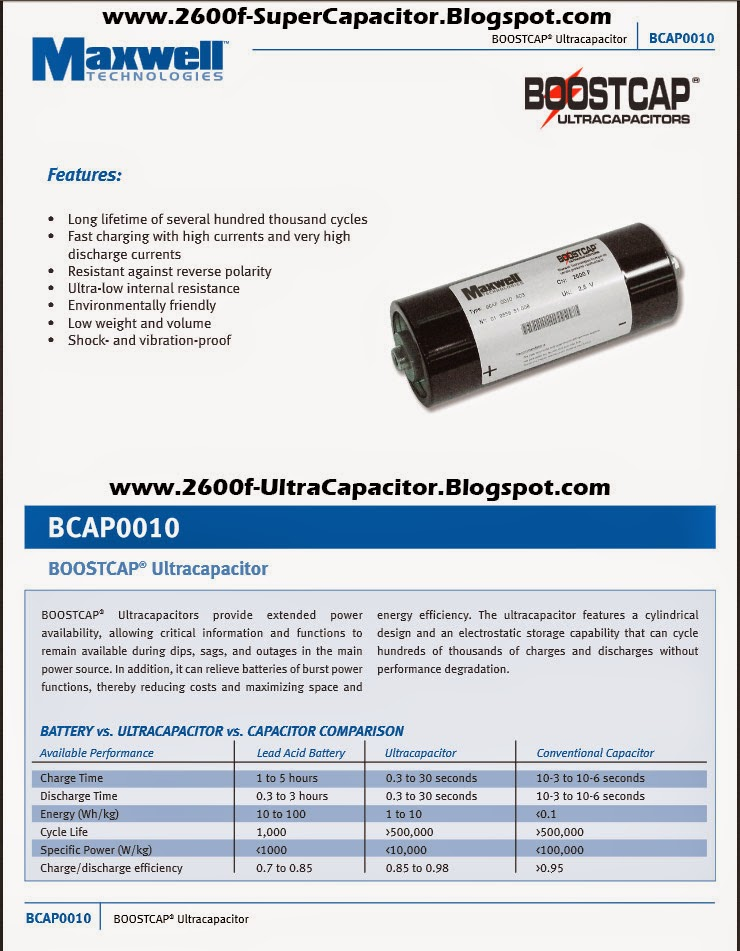 Boostcap BCAP0010 Capacitor Features 2600 Farad Ultracapacitor Specifications www.2600f-SuperCapacitor.Blogspot.com